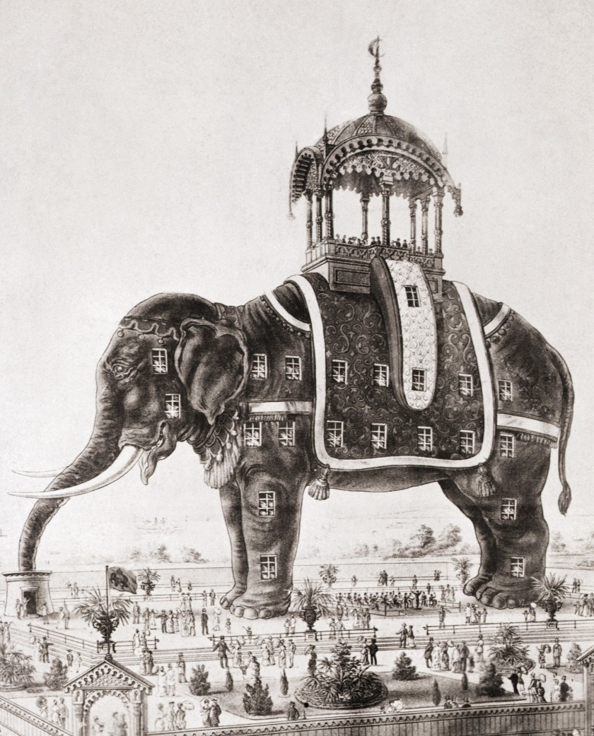 """Poster advertising the exhibition of """"ELEPHANTINE COLOSSUS"""" at Brighton Beach, Coney Island in the 1880's. (Betmann/Getty Images)"""