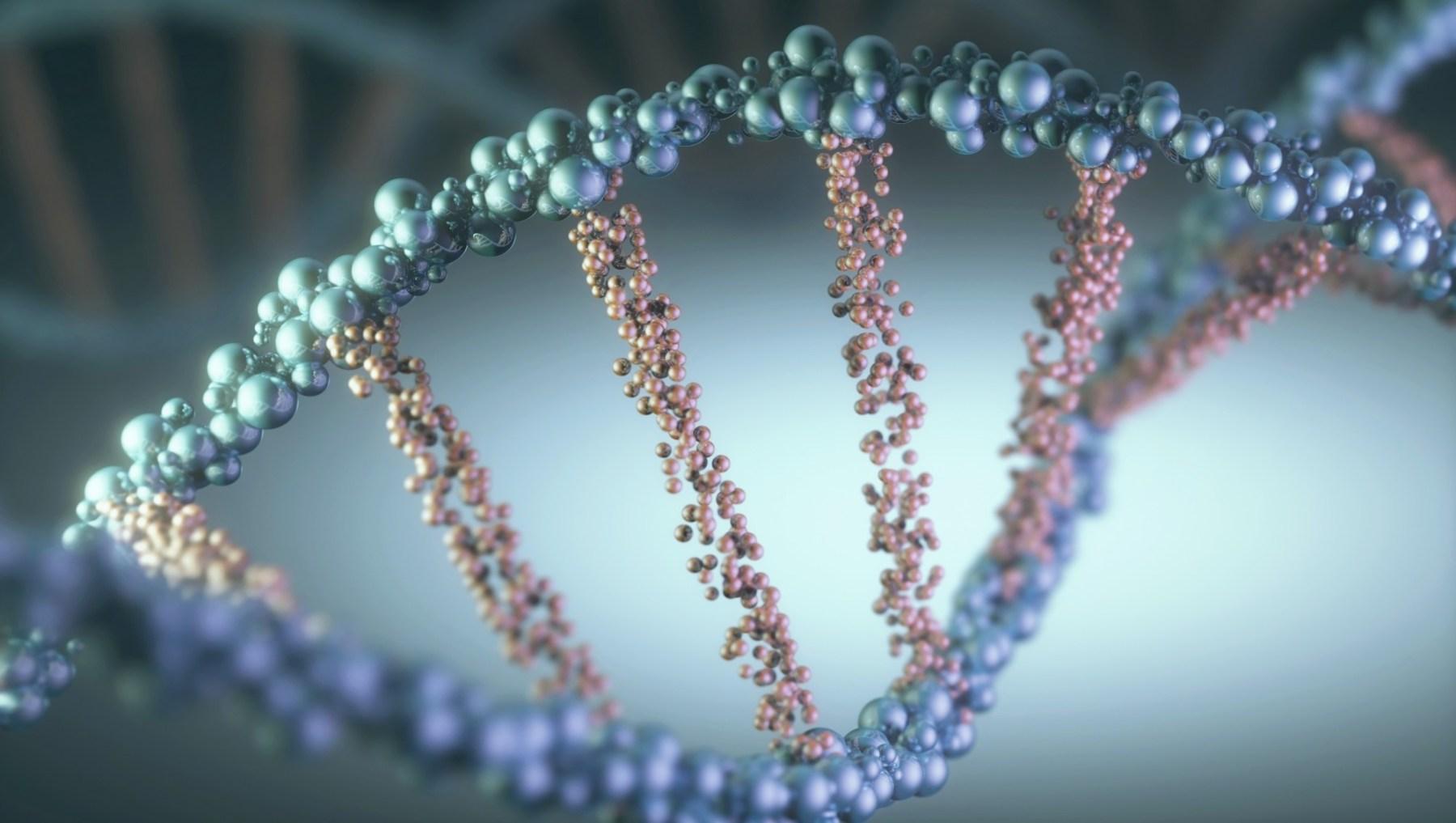 Dna (deoxyribonucleic acid) helix, illustration.