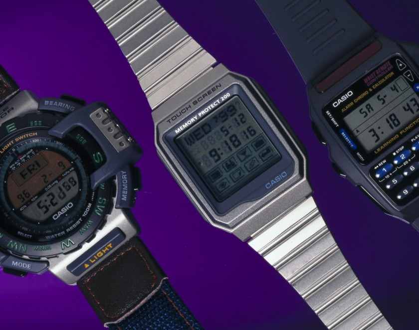 On the left is the PRT-40E with altimeter, barometer and thermometer functions. In the middle is the Model VDB-200B-1 with touch screen, back light, stopwatch and address book functions. And on the right is the multi-function Casio digital watch with built in infra-red transmitter to control household appliances. (SSPL/Getty Images)