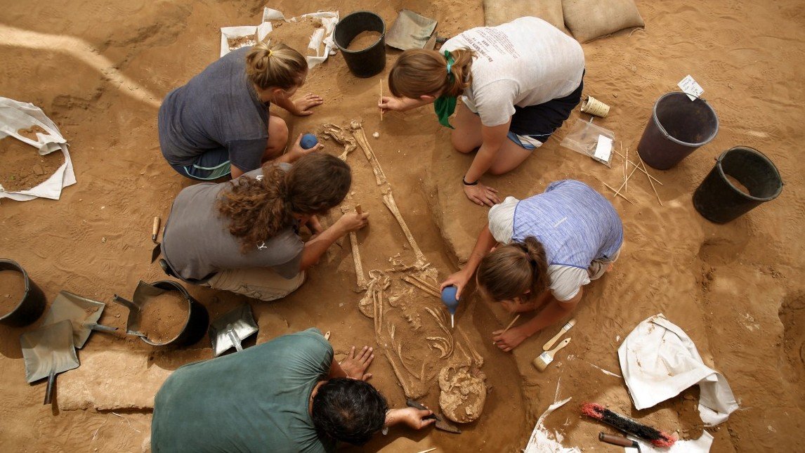 """A team of foreign archaeologists extract skeletons at the excavation site of the first Philistine cemetery ever found on June 28, 2016 in the Mediterranean coastal Israeli city of Ashkelon. With an excavation in southern Israel unearthing a Philistine cemetery for the first time, bones of the biblical giant Goliath's people can finally shed new light on mysteries of their culture. The cemetery's discovery marks the """"crowning achievement"""" of some three decades of excavations in the area, the expedition's organisers say.    / AFP / MENAHEM KAHANA / TO GO WITH AFP STORY BY DAPHNE ROUSSEAU        (Photo credit should read MENAHEM KAHANA/AFP/Getty Images)"""