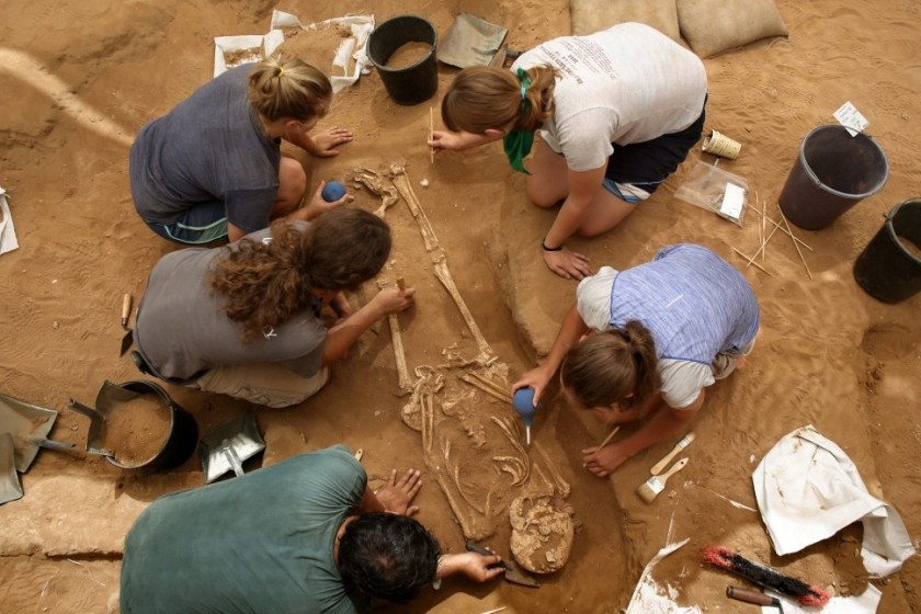 A team of foreign archaeologists extract skeletons at the excavation site of the first Philistine cemetery