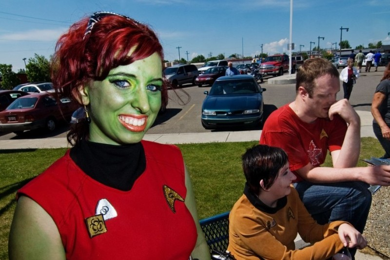 "VULCAN, ALBERTA, CANADA - JUNE 3: Schelay Remble (from Lethbridge, Canada) as Gaila, the Orion slave girl from the new Star Trek movie. ""You betcha I'm a diehard Star Trek fan - I've been one all my life! Everyone loves a green girl!'. Klingons celebrating 20 years of fandom and community service in Vulcan, Alberta during 16th Annual community-wide Star Trek Convention June 12-13th 2009. (Photo by MARK BERRY / Barcroft Media / Getty Images)"