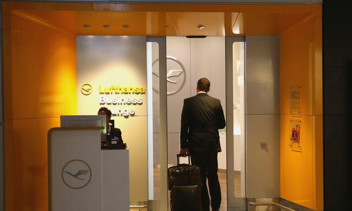 FRANKFURT AM MAIN, GERMANY - SEPTEMBER 12:  Lufthansa Business Class Lounge entrance in Terminal 1 at Frankfurt / Main International Airport on September 12, 2013 in Frankfurt am Main, Germany.  (Photo by Alexander Hassenstein/Getty Images)