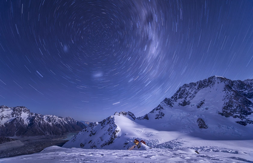 With temperatures close to -15 degrees, it's not surprising that the photographer was the only soul in the vicinity of Plateau Hut in Mount Cook National Park, New Zealand. The lonely hut, dwarfed by the snowy mountains of the park, contrasts with the abundance of star trails seemingly encircling the peaks of the Anzac. (Lee Cook)