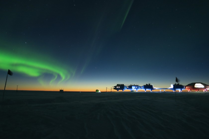 A view of the Halley 6 Research Station situated on the Brunt Ice Shelf, Antarctica, which is believed to be the closest thing you can get to living in space without leaving Earth, making it perfect to be used for research by the European Space Agency. As the Sun's light dissipates into the horizon, the aurora can be seen swirling overhead. (Richard Inman)