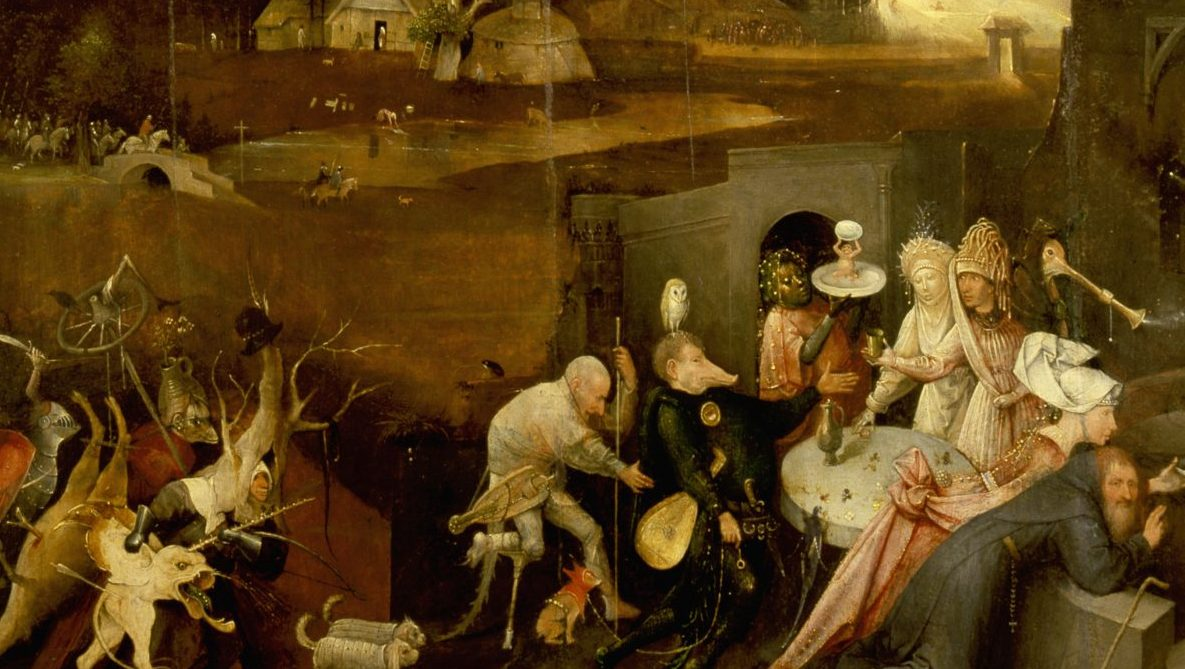 The triptych of 'The Temptation of St Anthony' by Hieronymus Bosch (1450 1516), St Anthony was a prominent leader of the Desert Fathers and was tormented by visions of Hell and demons during his retreat in the desert. Detail of demons tormenting St Anthony. The Netherlands 1505 1506 . (Photo by Werner Forman/Universal Images Group/Getty Images)