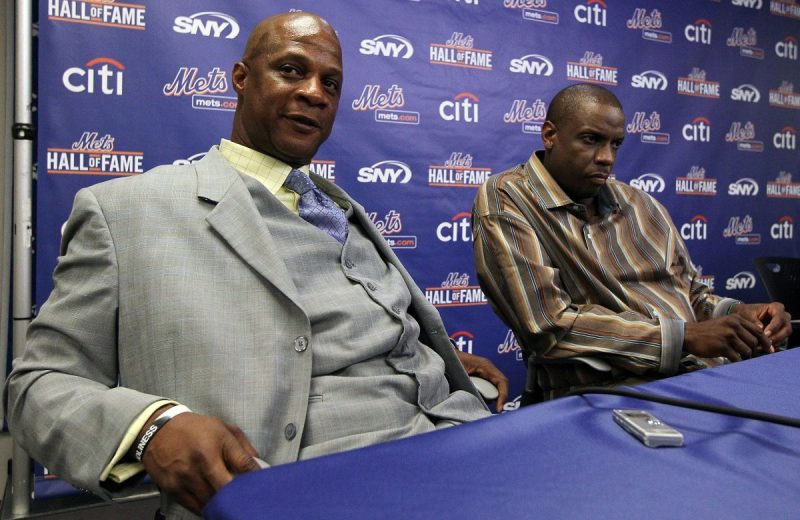 NEW YORK - JULY 31: Former players Darryl Strawberry (L) and Dwight Gooden speak during a press conference for their induction into the New York Mets Hall of Fame prior to the game against the Arizona Diamondbacks on July 31, 2010 at Citi Field in the Flushing neighborhood of the Queens borough of New York City. (Photo by Jim McIsaac/Getty Images)