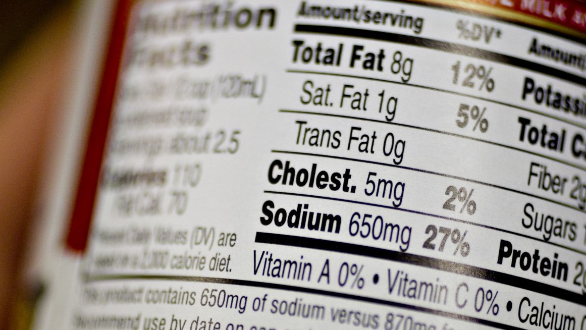 A nutrition facts label displays sodium content in a supermarket in New York, U.S., on Monday, March 1, 2010. The U.S. food industry may face federal sodium restrictions if it doesn't move on its own to make packaged meals less salty, said Thomas Frieden, director of the Centers for Disease Control and Prevention in an editorial published today in the Annals of Internal Medicine. Photographer: Daniel Acker/Bloomberg via Getty Images