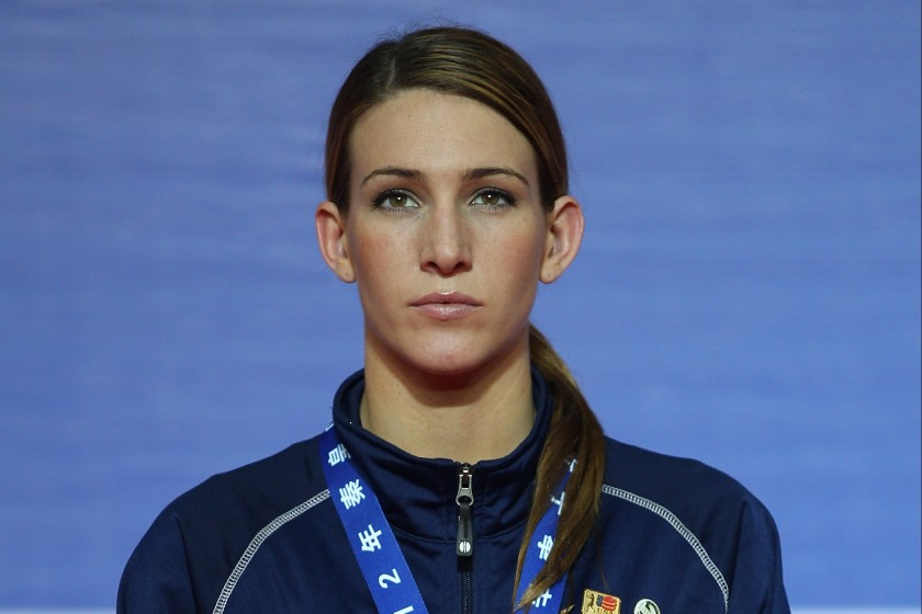 QINHUANGDAO, CHINA - MAY 19: Bronze medalist Mikaela Joslin Mayer of the United States attends the award ceremony of the Women's 64kg Final during the AIBA Women's World Boxing Championships on May 19, 2012 in Qinhuangdao, China. (Photo by Feng Li/Getty Images)