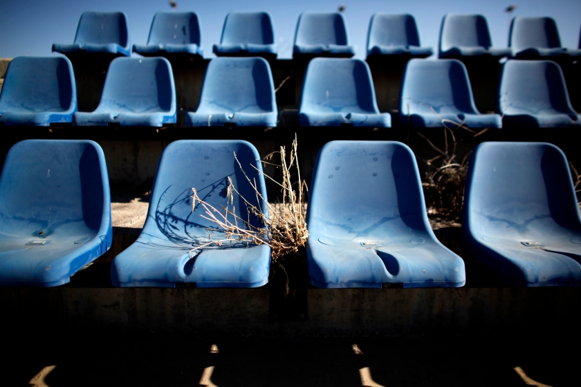 Seats are pictured at the disused Olympic hockey stadium in Athens on June 11, 2012. (Angelos Tzortinis/AFP/GettyImages)