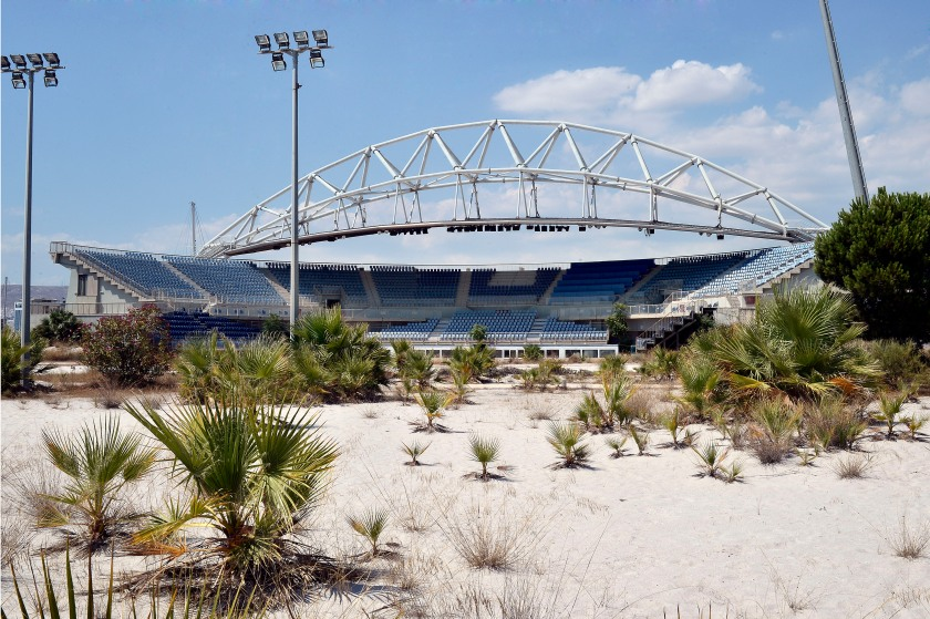 General view of the Beach Volleyball Olympic Stadium at Faliro Olympic Complex in Athens, Greece on July 31, 2014. (Milos Bicanski/Getty Images)