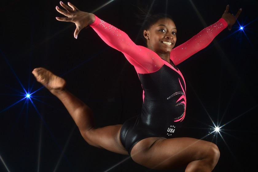 BEVERLY HILLS, CA - MARCH 07: (EDITORS NOTE: A special effects camera filter was used for this image.) Gymnast Simone Biles poses for a portrait at the 2016 Team USA Media Summit at The Beverly Hilton Hotel on March 7, 2016 in Beverly Hills, California. (Photo by Harry How/Getty Images)