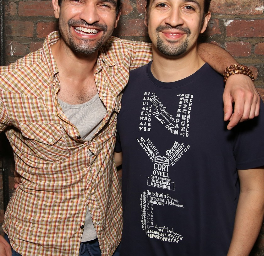 Javier Muñoz and Lin-Manuel Miranda who both play the title character in the Tony Award winning musical 'Hamilton' at the Richard Rodgers Theater on June 16, 2016 in New York City. (Walter McBride/Getty Images)