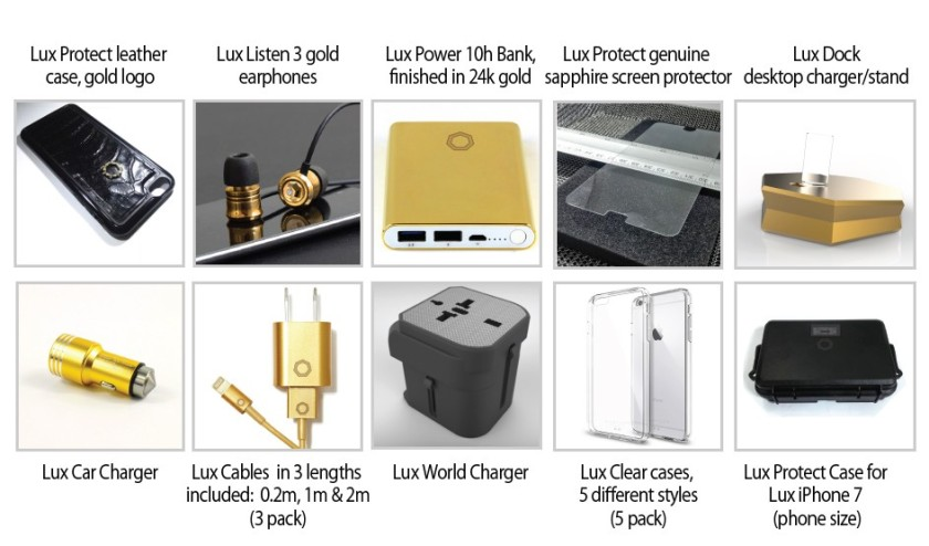 Lux Accessories for Lux iPhone 7 Including Dock, Cases, Power Bank, Headphones, Sapphire Screen Protector, Car Charger, World Charger and Travel Case (Brikk)