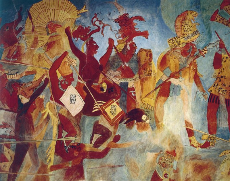 UNSPECIFIED - CIRCA 1900: Maya civilization, Mexico, 9th century A.D. Reconstruction of Bonampak frescos. Room 2. War scenes. (Photo By DEA / G. DAGLI ORTI/De Agostini/Getty Images)
