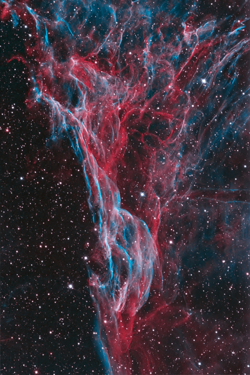 The luminous tangle of filaments of Pickering's Triangle intertwines through the night sky. Located in the Veil Nebula, it is one of the main visual elements of a supernova remnant, whose source exploded around 8,000 years ago. (Bob Franke)