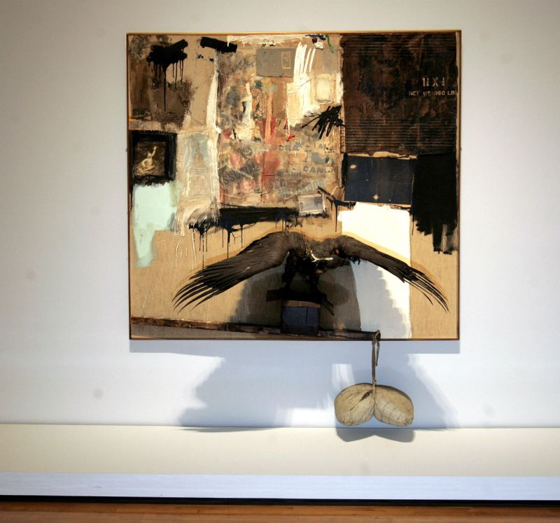 'Canyon', one of the pieces in the Combines exhibition at MOCA by Robert Rauschenberg: Combines opens at MOCA on May 21. This exhibition features work by the artist that combines paintings and sculpture. (Photo by Carlos Chavez/Los Angeles Times via Getty Images)