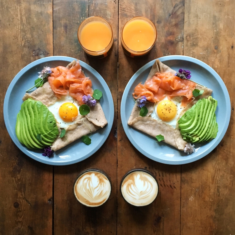 Breton buckwheat galette with salmon, egg and avocado (From SymmetryBreakfast by Michael Zee, published by powerHouse Books)