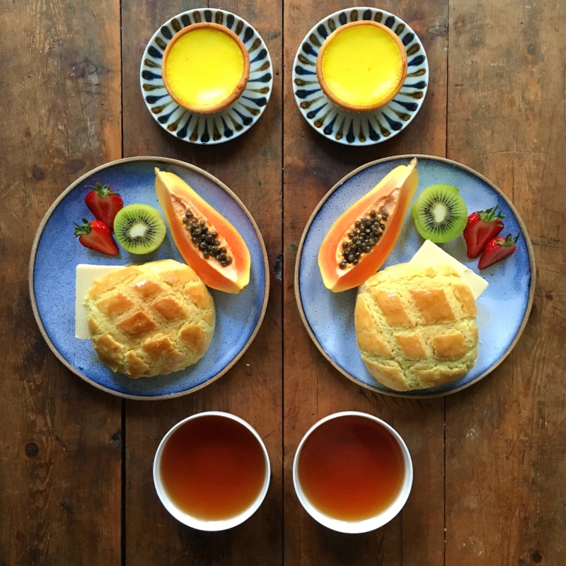 Hong Kong Pineapple Buns and egg tarts (From SymmetryBreakfast by Michael Zee, published by powerHouse Books)