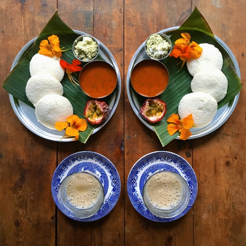 Idli-South Indian fermented rice pancakes with masala chai spiced tea (From SymmetryBreakfast by Michael Zee, published by powerHouse Books)