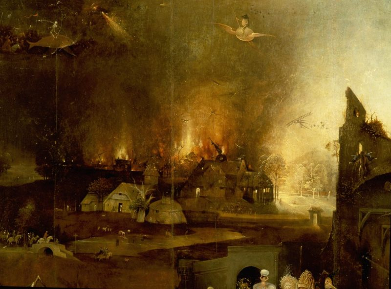 The triptych of 'The Temptation of St Anthony' by Hieronymus Bosch (1450 1516), St Anthony was a prominent leader of the Desert Fathers and was tormented by visions of Hell and demons during his retreat in the desert. Detail of village on fire. The Netherlands 1505 1506 . (Photo by Werner Forman/Universal Images Group/Getty Images)