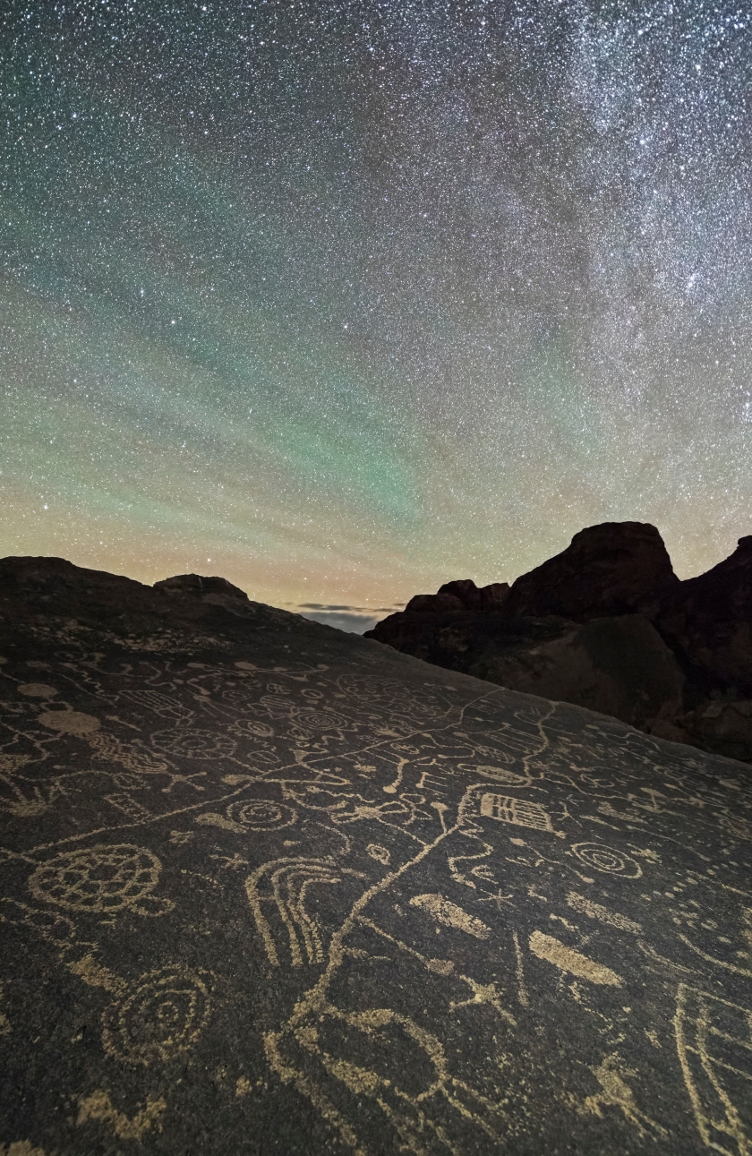Ancient petroglyphs are lit up by the glittering stars of the night sky in the Eastern Sierras in California, USA. (Brandon Yoshizawa)