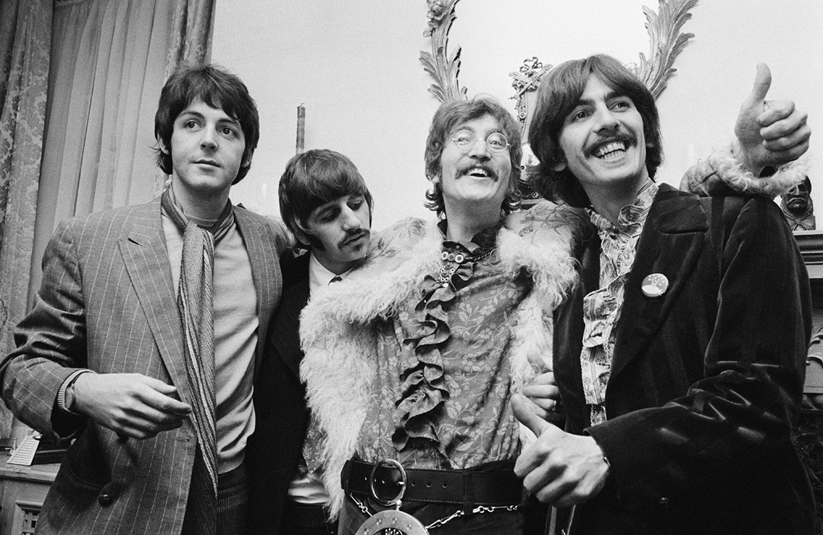 The Beatles at the press launch for their new album 'Sgt. Pepper's Lonely Hearts Club Band,' 1967 (John Downing/Getty Images)