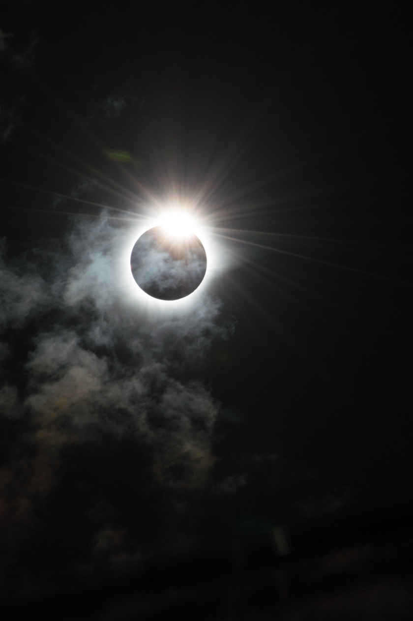 The dramatic moment that our star, the Sun, appears to be cloaked in darkness by the Moon during the Total Solar Eclipse of 9th March 2016 in Indonesia. The Sun peers out from behind the Moon and resembles the shape of a diamond ring, caused by the rugged edge of the Moon allowing some beads of sunlight to shine through in certain places. (Melanie Thorne)