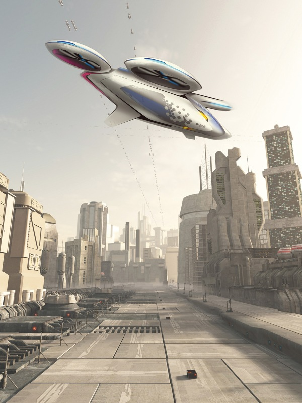 Illustration of a future city street with space cruiser and other aerial traffic overhead in hazy sunshine, 3d digitally rendered illustration. (Airbus Group)