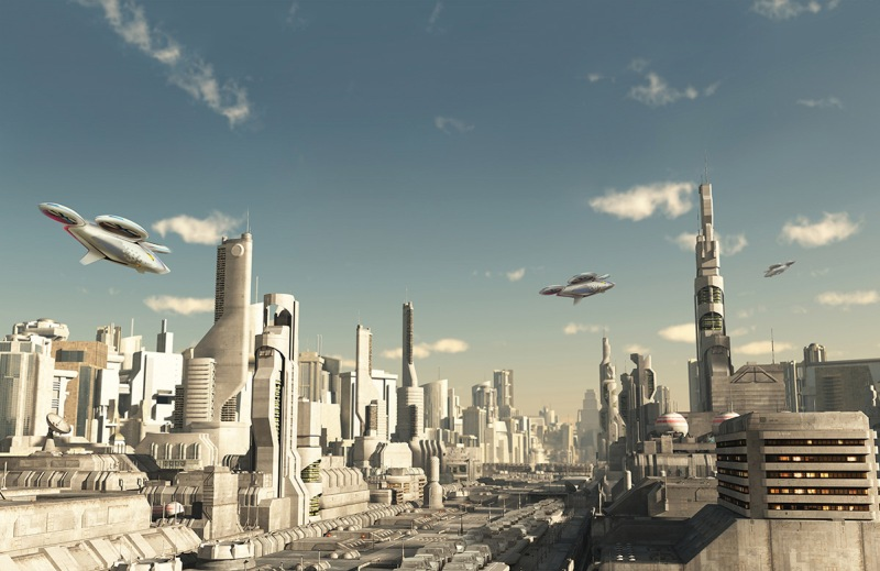 Illustration of a scout ship making a final approach to landing in a future city, 3d digitally rendered illustration. (Airbus Group)