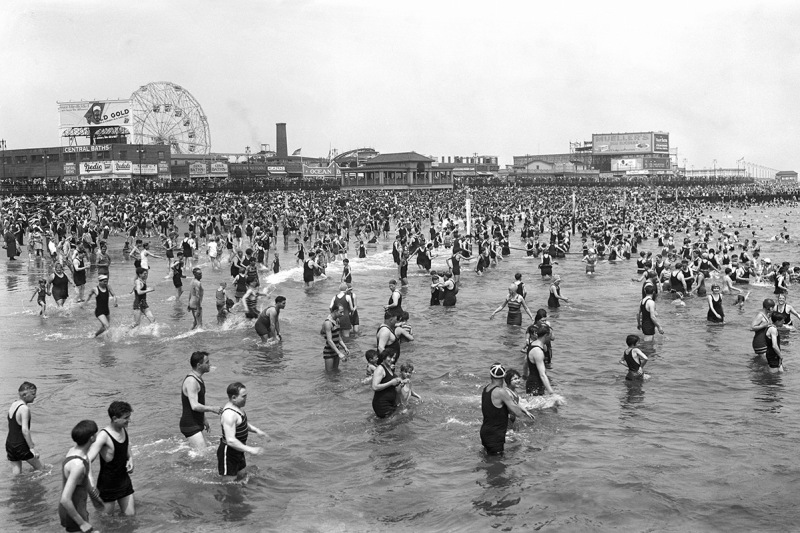 (Original Caption) 1928- Brooklyn, NY: Beach scene at Coney Island. SEE NOTE