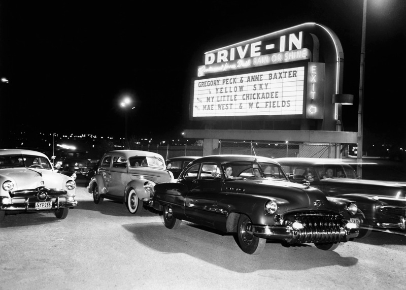 Cars at a Drive-In Theater | Location: Whitestone, Queens, New York, New York, USA.