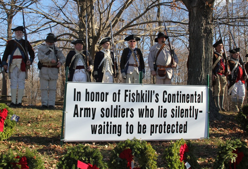 This is a photo taken at our Wreaths Across America event which had to be moved from the gravesite to the grounds of the Van Wyck homestead after the owner refused to grant us permission to hold our event on his property. (Friends of the Fishkill Supply Depot)