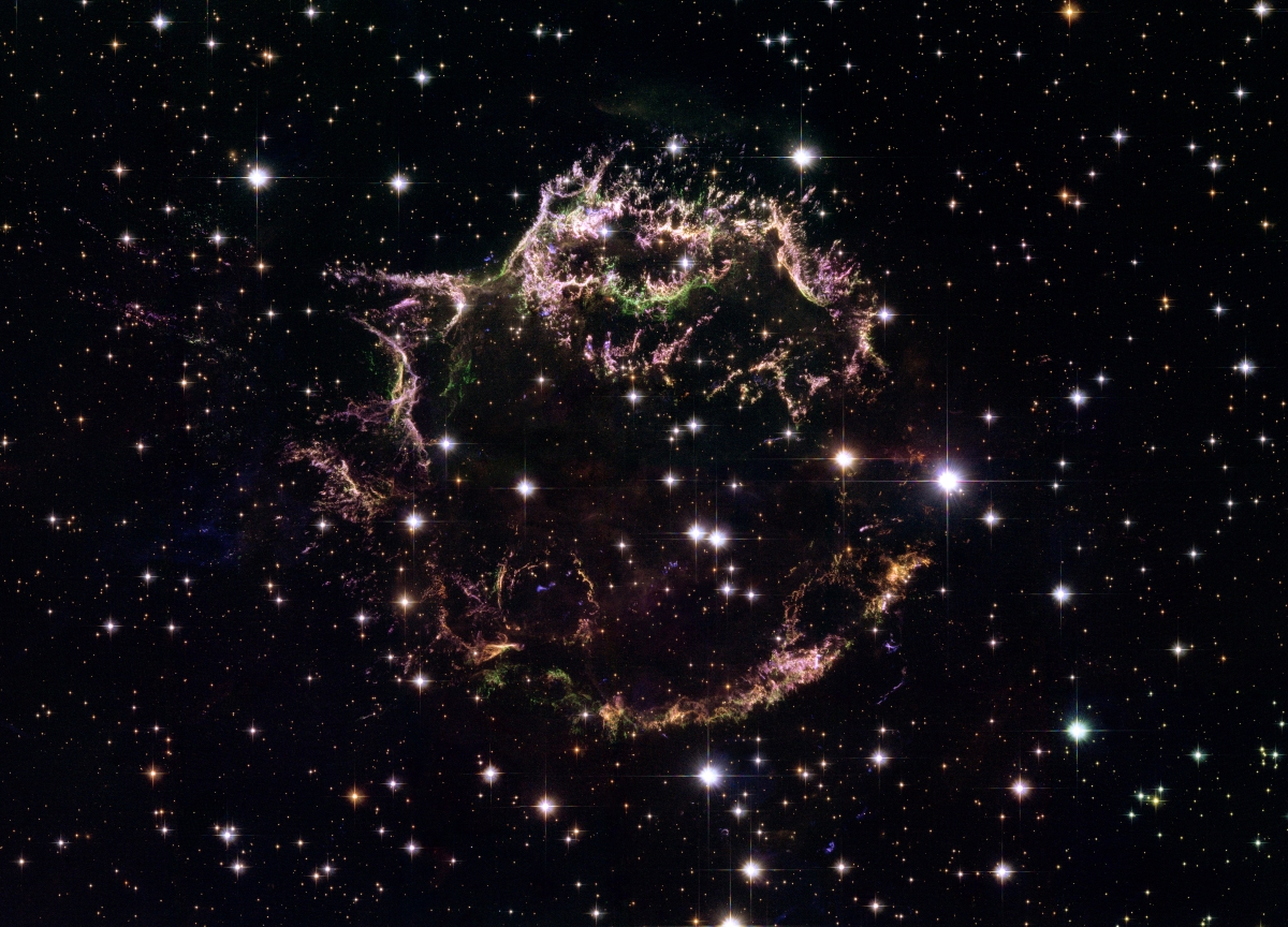 A new image taken with the NASA/ESA Hubble Space Telescope provides a detailed look at the tattered remains of a supernova explosion known as Cassiopeia A (Cas A). It is the youngest known remnant from a supernova explosion in the Milky Way. The new Hubble image shows the complex and intricate structure of the star's shattered fragments.