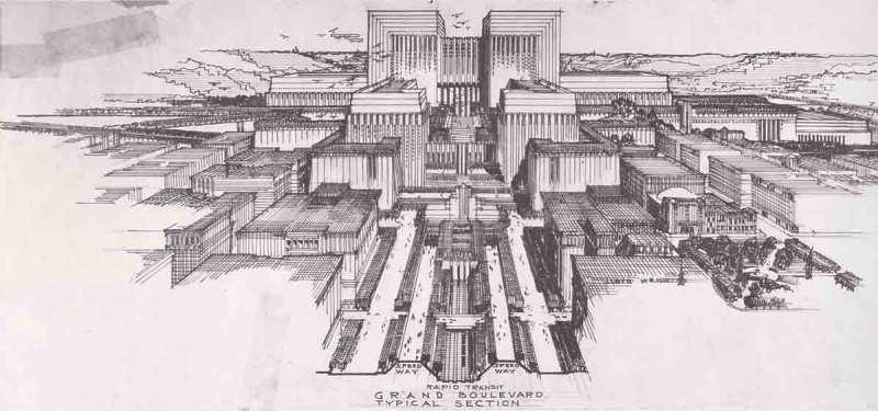 Lloyd Wright LA Civic Center: Civic Center, view from south along Grand Avenue(Metropolis Books )