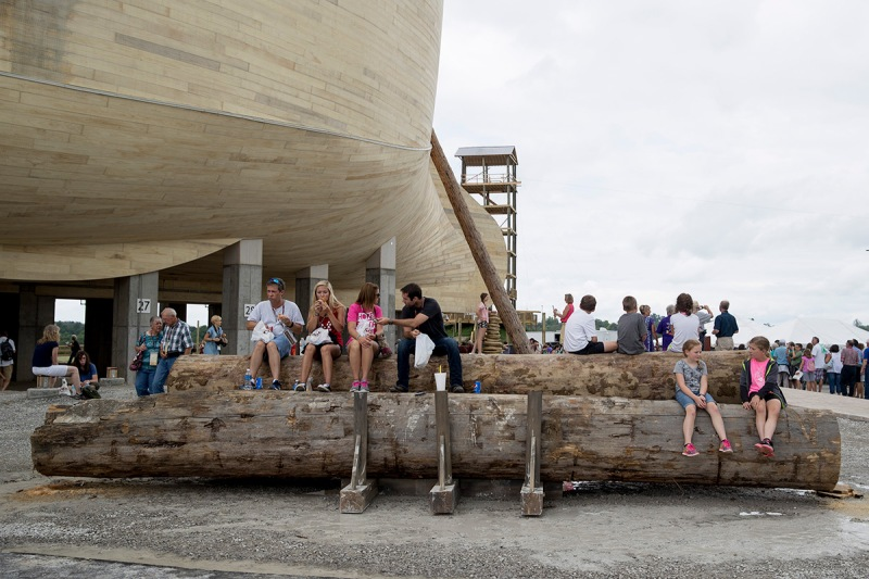 WILLIAMSTOWN, KY - JULY 5: Patrons wait for tours outside the Ark Encounter July 5, 2016 in Williamstown, Kentucky. The Ark Encounter is a theme park centered around a 510 foot long reproduction of Noah's Ark. (Photo by Aaron P. Bernstein/Getty Images)