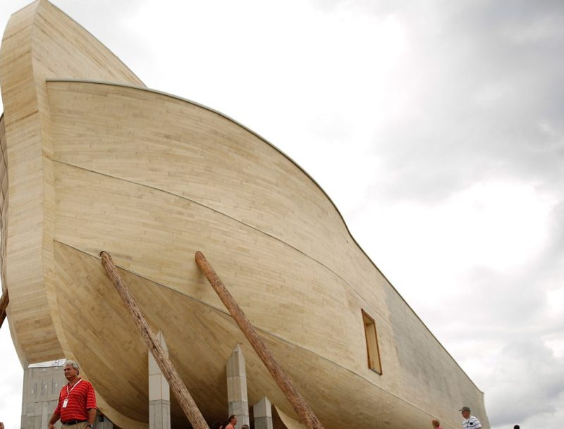 Attendees view the Noah's Ark replica during a VIP and media preview day at the Ark Encounter theme park in Williamstown, Kentucky, U.S., on Tuesday, July 5, 2016. Ken Ham, president of Answers in Genesis of Kentucky Inc., and his group created a full-scale replica of Noah's Ark to match its description in the bible. The massive 510-foot wooden ship has cost an estimate of over $100 million to produce. Photographer: Luke Sharrett/Bloomberg via Getty Images