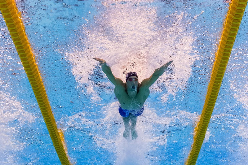 Underwater view shows USA's Michael Phelps taking part in the Men's 100m Butterfly Semifinal during the swimming event . (François-Xavier Marit/AFP/Getty Images)