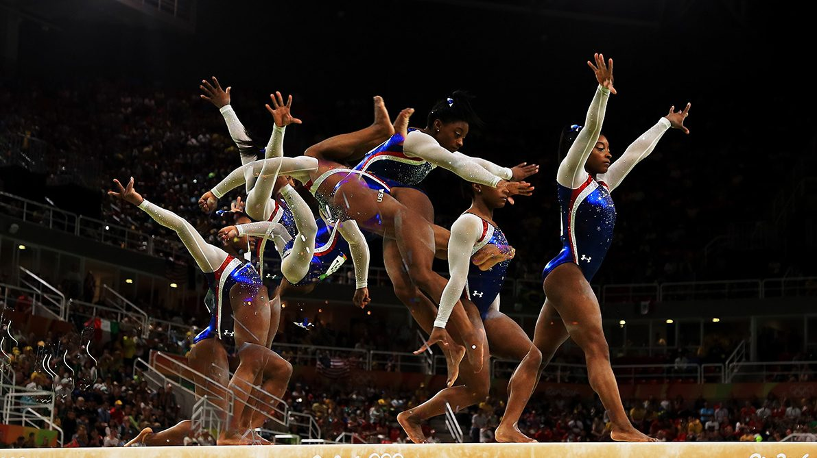 Simone Biles of the United States competes on the balance beam during the Women's Individual All Around Final on Day 6. (Mike Ehrmann/Getty Images)