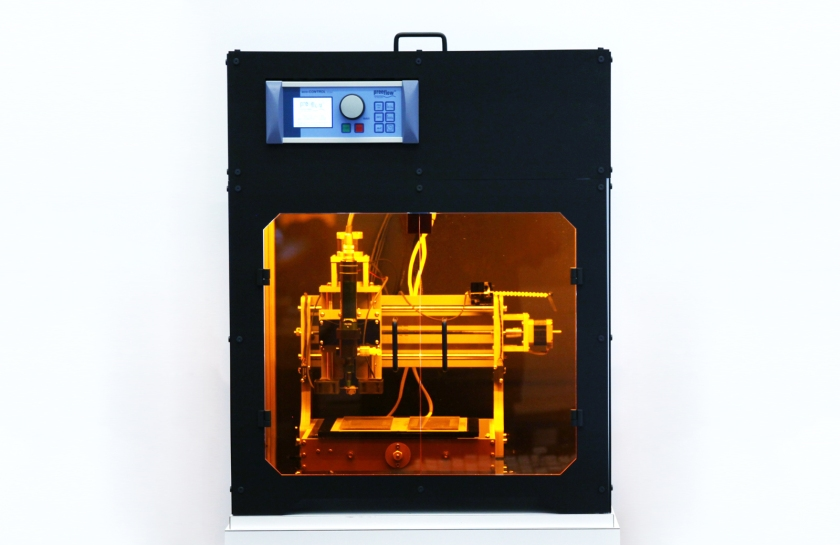 Bioprinter customized specifically for Natto cell printing and bio-hybrid film production. (MIT Media Lab)