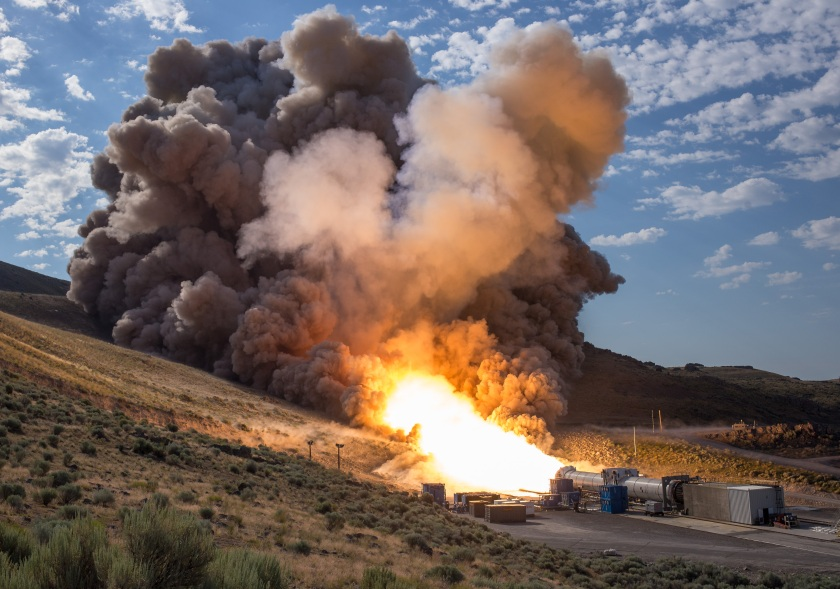 The second and final qualification motor (QM-2) test for the Space Launch System's booster is seen, Tuesday, June 28, 2016, at Orbital ATK Propulsion Systems test facilities in Promontory, Utah. During the Space Launch System flight the boosters will provide more than 75 percent of the thrust needed to escape the gravitational pull of the Earth, the first step on NASA's Journey to Mars. (NASA/Bill Ingalls)