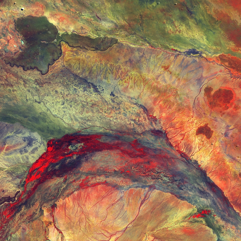 Water flowing out of this inland delta rarely reaches the ocean; instead, it seeps into the semiarid plains of northeastern Kenya. The dark feature in the upper left, which looks like a black eye, is hard basaltic rock from an ancient lava flow. (USGS/NASA)