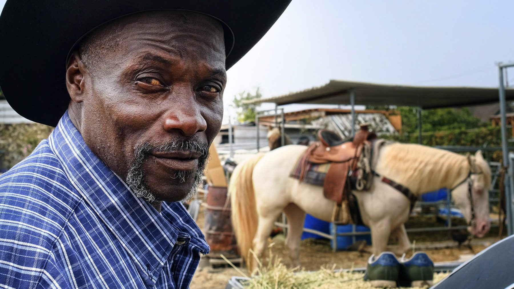 """Ivory McCloud poses for a photo with his horse, Diamond, at his stable in the backyard of a home in Compton, Calif., on Sunday, Aug. 7, 2016. """"I've got 40 years in this, man,"""" the 56-year-old horseman says. """"My dad was a cowboy. I'm a cowboy. I grew up in Compton. I live in Compton and I've been training horses since I was a kid."""" (AP Photo/Richard Vogel)"""