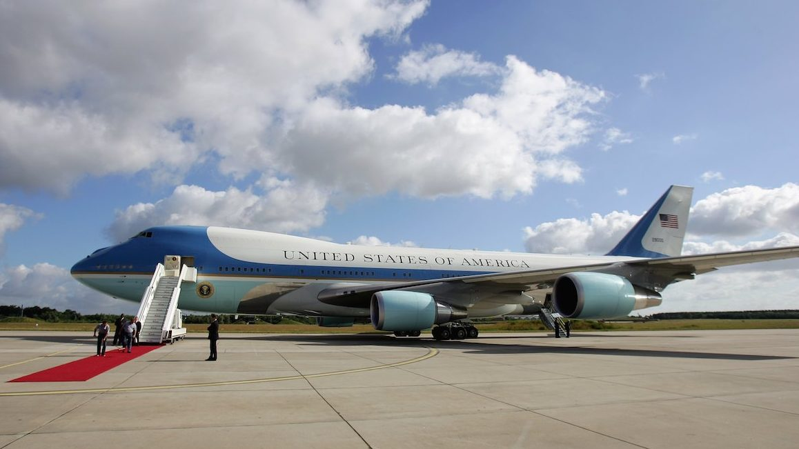 ROSTOCK, GERMANY - JULY 14:  Air Force One, the plane of US President George W. Bush, is being prepared for his departure on July 14, 2006 in Rostock, Germany. Bush continues to the G8 summit in St. Petersburg, Russia, after visiting German Chancellor Angela Merkel's constituency in former East Germany for a day, stopping in the city of Stralsund and later in the small village of Trinwillershagen for a barbecue with residents.  (Photo by Andreas Rentz/Getty Images)