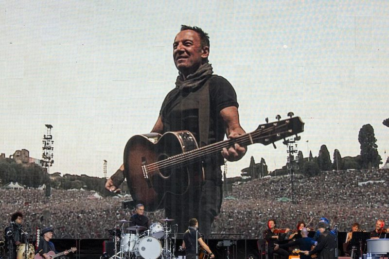 ROME, ITALY - JULY 16: Bruce Springsteen and The E Street Band performs in concert at Circo Massimo on july 16, 2016 in Rome, Italy. (Photo by Roberto Panucci/Corbis via Getty Images)