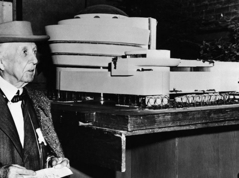(GERMANY OUT) FRANK LLOYD WRIGHT (1869-1959). American architect. Wright beside his model for the Guggenheim Museum, New York City. Photographed 1953. (Photo by ullstein bild/ullstein bild via Getty Images)