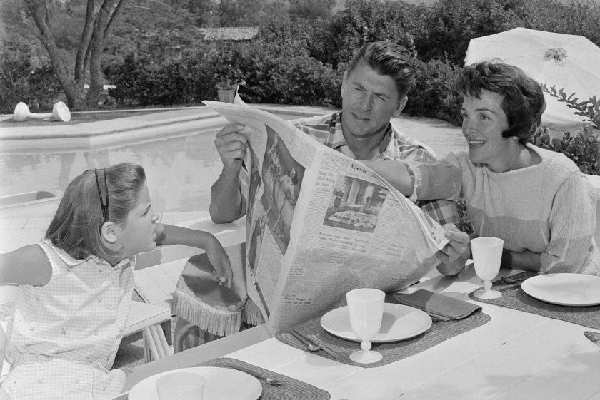 Ronald Reagan at home in Pacific Palisades with his wife Nancy Davis Reagan and their daughter, Patricia Ann, age 9 (Photo by CBS via Getty Images)