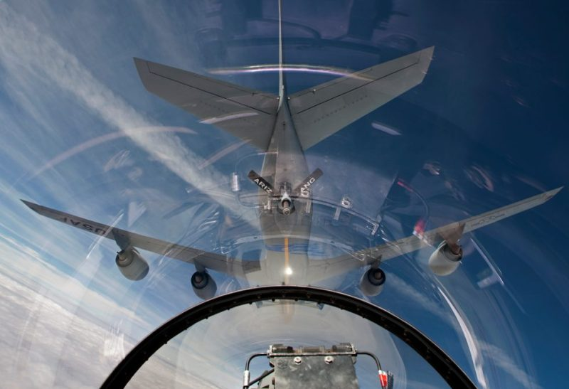 An F-16 flies in the pre-contact position behind a KC-135R from the Arizona Air National Guard. Credit: HIGH-G Productions/Stocktrek Images