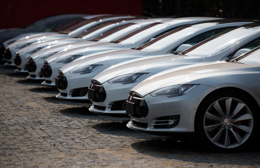 Tesla Model S vehicles parked outside a car dealership in Shanghai. Serial entrepreneur Elon Musk has launched spacecraft into orbit, but popularizing his Tesla electric cars in China is proving to be tougher than rocket science. (Johannes Eisele/AFP/Getty Images)
