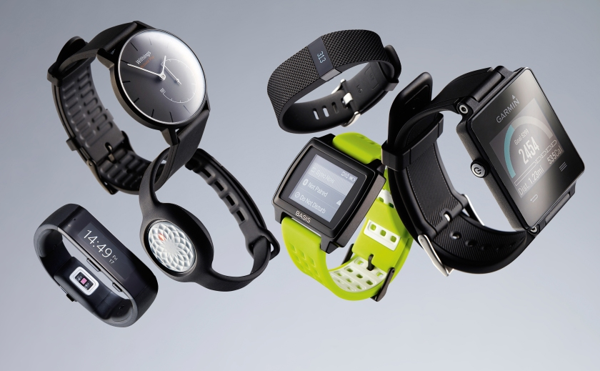 A selection of wearable fitness trackers, including (L-R) a Microsoft Band, Withings Activite Pop, Jawbone Up Move, Fitbit Charge HR, Basis Peak and a Garmin Vivoactive, taken on April 23, 2015. (Joby Sessions/T3 Magazine via Getty Images)